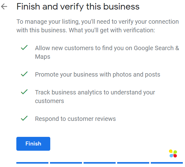Finish and verify this business