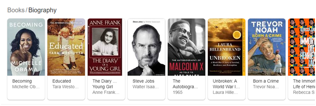 Google Book Biography section