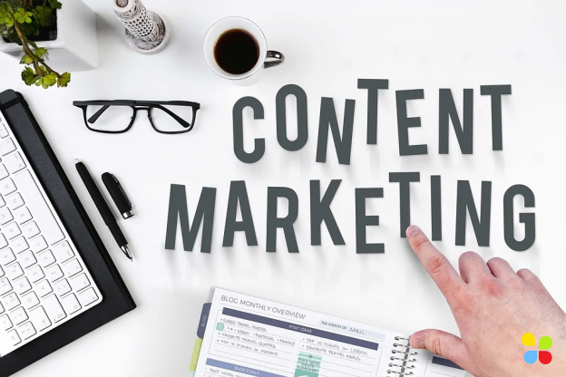 Content marketing written on table